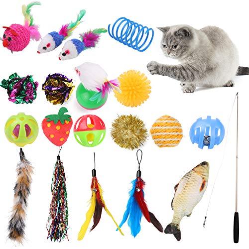 Giocattoli per Gatti,Set di Giocattoli Interattivi per Gatti, Giocattoli per Gatti Bacchetta,20 Pezzi Gatto Giocattoli Interattivi Gioco per Gattino Kitten Indoor con Palline,Pesce,conMorbidi Topi