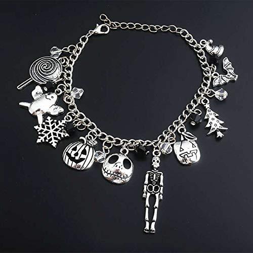 FLAIGO Halloween Bracelet Charm Bracelet Jewelry for Women Halloween Hand Bracelet with Ring Props Gift Nightclub Party Punk Finger Bracelet Decoration