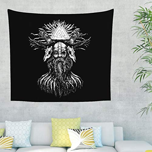 Tapiz de pared con diseño de guerreros vikingos de color blanco y negro, con dos serpentinas, para pared, diseño abstracto, triangular, para decoración de pared 200x150cm blanco