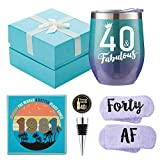 1981 40th Birthday Gifts for Women - 40 & Fabulous - Funny Wine Gift Set for 40th Birthday BFF, Best Friend, Sister, Girlfriend, Wife, Daughter - 40 Year Old Party Supplies Decorations for her