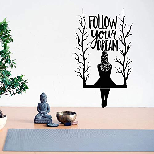zqyjhkou Follow Your Dream Wall Decal Quotes Lettering Girl on The Tree Branch Swing Vinyl Window Stickers Art Bedroom Home Mural79x49cm
