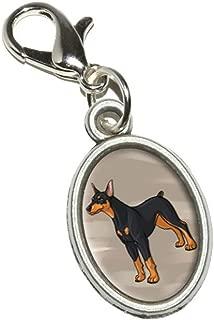 Doberman Pinscher - Dog Pet Antiqued Bracelet Pendant Zipper Pull Oval Charm with Lobster Clasp