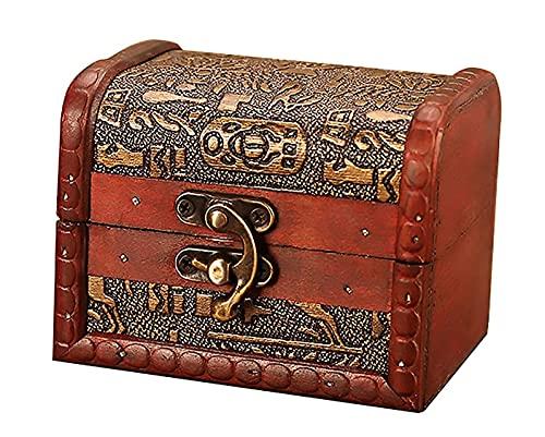 X&Z-XAOY Mini Caja De Joyería De La Vendimia,Caja De Almacenamiento De Joyas De Madera,Caja De Caramelo,Caja De Almacenamiento Multifuncional,Regalo De Recuerdo (4.13inx2.95inx3.15in)