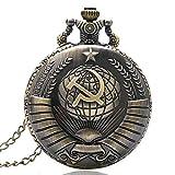 Montre de Poche de Style Antique Faucille soviétique avec Collier chaîne de noël Meilleur Cadeau pour Hommes Femmes