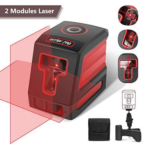 Niveau Laser Croix, DETLEV PRO Niveau Laser Autonivelant Laser Horizontal et Verticale Faisceau Rouge Distance 15m IP54 Anti-éclaboussures pour Décoration Intérieure avec un Support Magnétique