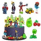 Mini Juego de Figuras Decoración para Tartas Hilloly 8 Pcs Plantas de Contra Zombies Caricatura Cake Topper Fiesta Cumpleaños DIY Decoración Suministros para Baby Shower Cumpleaños Decoración La Torta