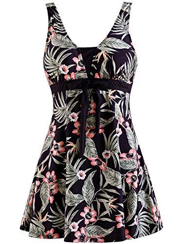 Wantdo Women's Modest Bathing Suit Plus Size Tankini Swimsuit Sea Flower 18/20 Plus