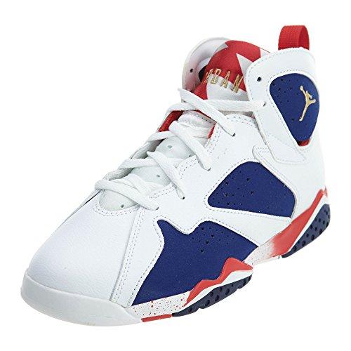 Nike Jungen Jordan 7 Retro BP Basketballschuhe, Weiß Weiß MTLC Goldmünze Tiefes Königsblau, 28 EU
