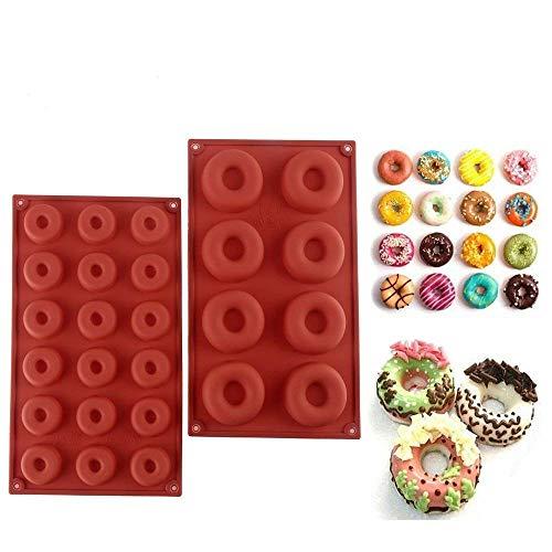 Paquete de 2 moldes de silicona para rosquillas, bandeja antiadherente para hornear Recipiente resistente al calor para bizcochos de bizcochos de pastelería Muffins (8 cavidades y 18 cavidades)