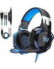 OCDAY Spelheadset PS4 Gaming-hörlurar, PS4-hörlurar Med Mikrofonheadset Gaming-headset Med 3,5mm Uttag Och LED-bas Stereo Noise Cancelling för Playstation 4, Nintendo Switch, Xbox One X, PC
