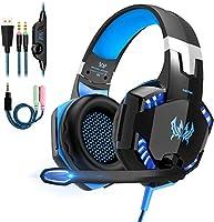 OCDAY Gaming Headset, Headset voor PS4 PC Xbox One, Gaming Hoofdtelefoon 3,5 mm Surround Sound Bedraad met Microfoon, LED...