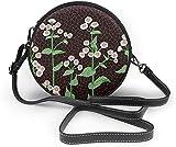 Bolso redondo mujer Women Soft Leather Zipper Round Shoulder Bags - Avant Garde Art White Flowers Sling Bag