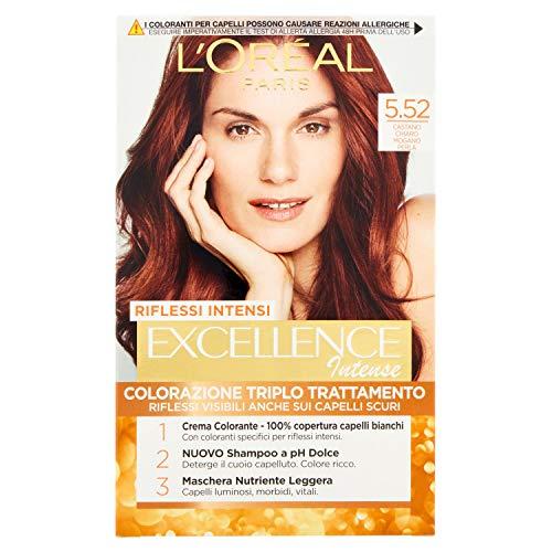 L'Oréal Paris Excellence Creme, tinte colorante con triple tratamiento avanzado, cubre los cabellos blancos 5.52 Castano Chiaro Mogano Perla
