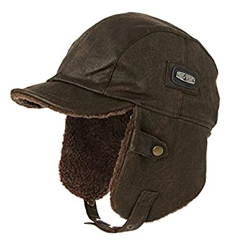 Comhats Unisex Pilot Hat Aviator Cap Leather Adult Brown Women Winter Trapper Hunting Hats