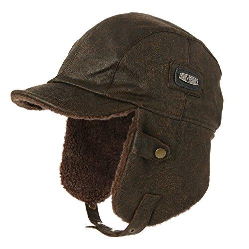 Siggi Flieger-Hut / Piloten-Hut / Jagd-Hut aus Kunstleder für erwachsene Herren, Winterbekleidung Gr. Large, 88115_Brown