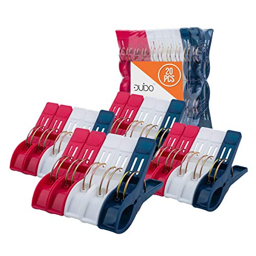 Beach Chair Towel Clips Clamps - 20 Pack Pool Towel Holder and Large Plastic Clamp - Red, White and Blue Jumbo Clothespins and Towel Pegs - Heavy Duty...