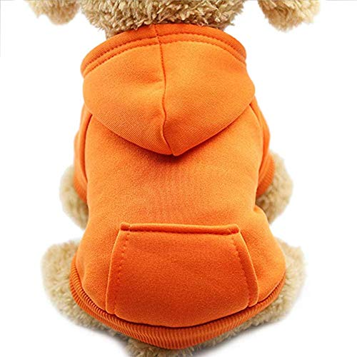 Idepet Perro Gato Sudadera con Capucha Mascota Cálido Abrigo de Invierno Ropa de algodón para Perros con Bolsillo Exterior para Perros pequeños