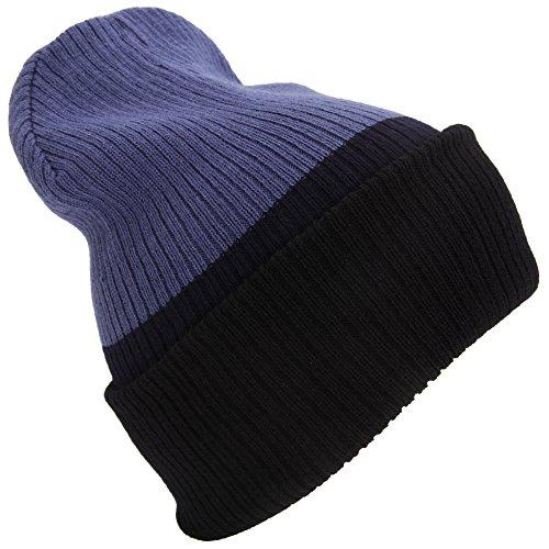 Textiles Universels Bonnet réversible - Adulte Unisexe (Taille Unique) (Bleu/Bleu Marine/Noir)