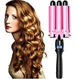 Professional Hair Waver 3 Barrel Curling Iron 1 inch 25mm Fast Heating Hair Crimper Iron Triple Hair Curler with LCD Display Temperature Adjustable Ceramic Beach Waver Wand for Beachy (1 Inch)