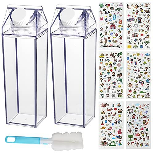 Botella de Agua de cartón de Leche, 2 Pièces Botella de Leche Transparente Cuadrada Recipiente Lindo Reutilizable de 500 ml para Actividades de Viaje