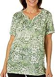 Erika Women's Maxi Split Neck Tee Shirt with Insert, Pea Pond - Tie Dye Décor, Large