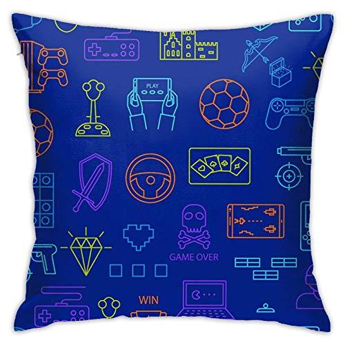 BEDKKJY Throw Pillow Covers Signos de Videojuegos Funda de Almohada de línea Fina Funda de cojín Decoración Decorativa para el hogar