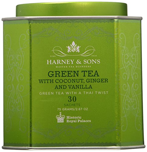 Harney & Sons Green Tea with Coconut, Ginger and Vanilla, 30 Sachets, 2.67 oz (75 g)