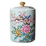 Cabilock Ceramic Tea Jar Vintage Chinese Style Storage Jars Porcelain Tea Tin Tea Storage Tea Caddy Tea Canister Tea Storage Can with Sealed Lids for Spice Tea Coffee Condiment 550ml