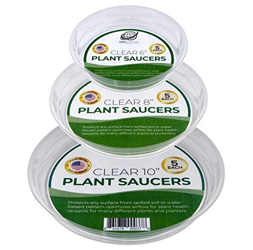 YOUniversal Products 15 Pack of 6, 8,10 Inch Clear Plant Saucer Drip Trays