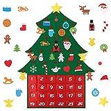 Árbol de Navidad Calendario de Adviento 24 días de Cuenta Regresiva Árbol de Fieltro con Bolsillos y 24 Adornos Colgantes para Decoraciones de Puerta de Pared de Navidad