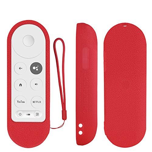 Custodia protettiva in silicone per Chromecast con telecomando vocale Google TV 2020, per telecomando vocale Chromecast 2020, antiurto, lavabile, con passante, colore: rosso