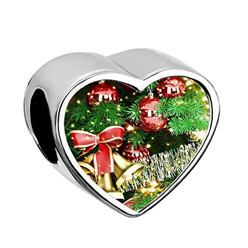UNIQUEEN Merry Christmas Tree Gifts Heart Photo Charms Beads fit Bracelet