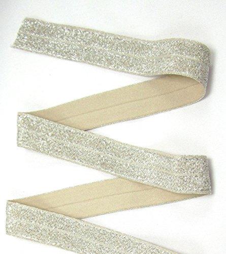 Schrägband elastisch, Glitzer, Falzband, 20/10mm, Kantenband, Gummi, nähen, Meterware, 1 Meter (Sand)