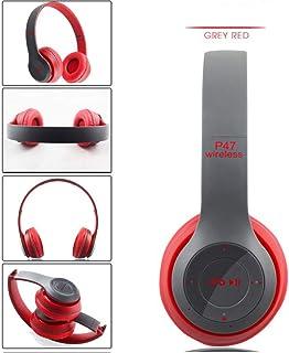 Over Ear P47 WIFI Wireless Bluetooth4.1 Headphones Mic Folding Stereo FM Headset (Red)