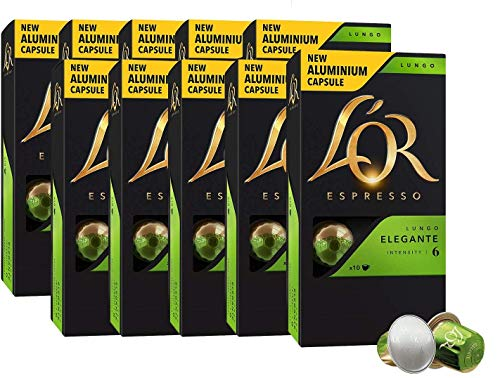 L'OR Espresso Kaffee Lungo Eleganta Intensität 6 – Nespresso®* kompatible Kaffeekapseln aus Aluminium - 10 Packungen mit 10 Kapseln (100 Getränke)