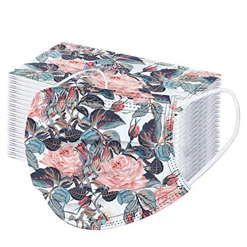 Rabbiter 100 Stück Erwachsene Mundschutz mit Motiv Bunt MNS Mund Nasenschutz Blumen Druck Maske Tücher Atmungsaktiv Mund-Tuch Bandana Halstuch Schals für Damen Herren