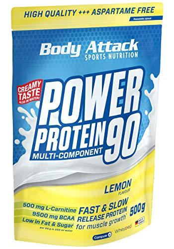 Body Attack Power Protein 90, Lemon Curd Cream, 500g, 5K Eiweißpulver mit Whey-Protein, L-Carnitin und BCAA für Muskelaufbau und Fitness