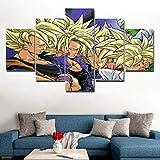 45Tdfc 5 Piezas Arte Pared Lienzo Superhéroe Dragon Anime Película Amarillo Saiyan Goku HD Pintura Cartel ImpresióN- Wall Lona Paintings- Escena Sala Estar Oficina DecoracióN