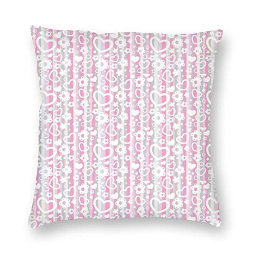 Throw Pillow Cushion Cover,Cute Little Hearts Flowers Ornamental With Colorful Backdrop Cartoon Doodle 22'x22', Decorative Square Accent Pillow Case