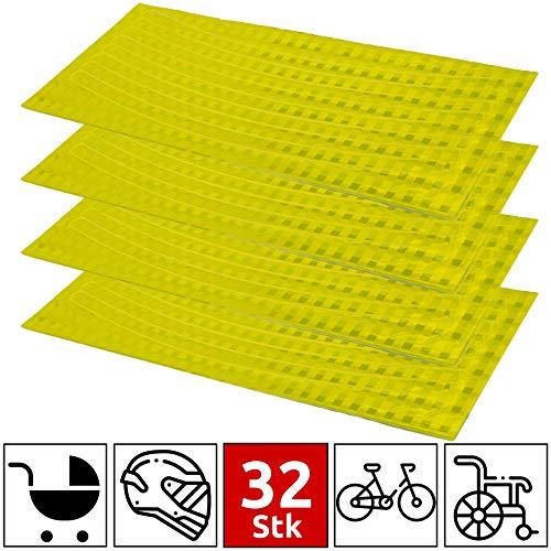 ZooJa® Reflektoren Aufkleber Set reflektierende Selbstklebende Streifen für MTB Rennrad Kinderwagen oder Kinder Fahrrad Felgen - 32 Streifen (gelb)