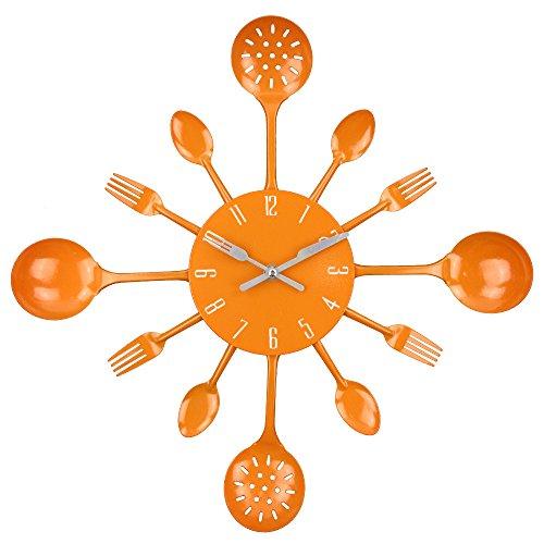 "Wall Clock, Timelike 16"" Metal Kitchen Cutlery Utensil Spoon Fork Wall Clock Creative Modern Home Decor Antique Style Wall Watch (Orange)"