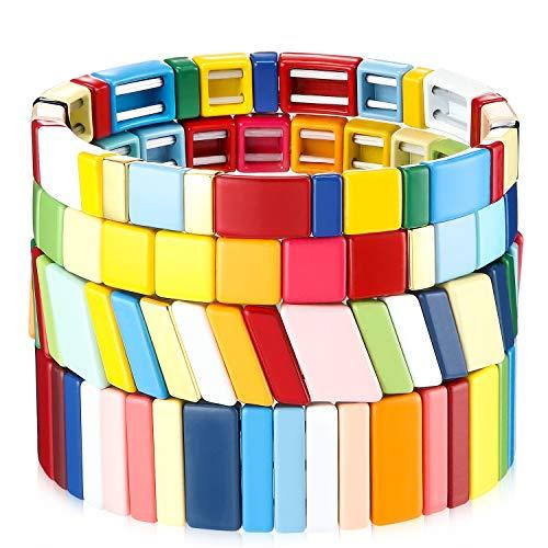 4 Stück Emaille Fliesen Armband Regenbogen Fliesen Perlen Armband Stapelbare Block Armband Elastisch Strecken Armreif für Männer Frauen Geschenk