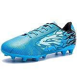 Saekeke Chaussures de Foot Enfant Garçons Filles FG/AG Chaussures de Football Basses TF Chaussures D'Entraînement pour Adolescents Chaussures de Football en Plein Air Bleu EU 34