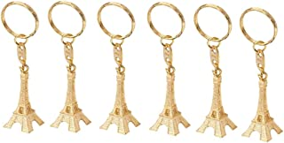 LUOEM 12pcs Retro Keyring Eiffel Tower Key Chain Pendant Decorations New Years Gift (Golden)