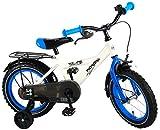 Thombike Kinderfahrrad Jungen 14 Zoll mit Vorradbremse am Lenker und Rücktrittbremse, Stützräder Weiß Blau 95% Zusammengebaut