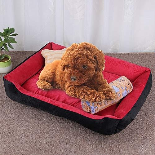 Shufeivicc Patrón de Hueso del Perro Grande Suave Suave de la herpilla del Perro del Perro de la Perrera del Perro, con la Manta Tamaño: L, 80 × 60 × 15cm (Color : Black Red)