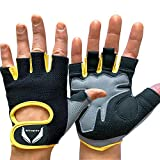 Gym Gloves | Breathable | Non Slip | Padded Palm | Microfiber Fabric | Velcro | For Men & Women | Good Grip | For Cycling | Fitness Workout | Weight Lifting | Rowing | Pull up Bar | Cross-Fit