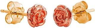 Petite 3D Rose Flower Earrings, 10k Yellow Gold, 12k Green and Rose Gold Black Hills Gold Motif