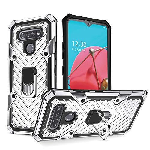 COOVY® Cover für LG K51S Hülle Hülle PC + TPU-Silikon, extra stark, Anti-Shock, Stand Funktion + Haltering + Magnethalter kompatibel | Silber
