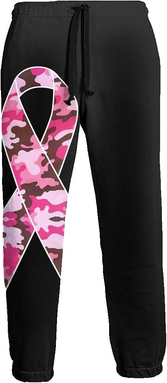 Men's Jogger Sweatpants Camo Pink Ribbon 3D Loose Joggers Pants with Drawstring Long Pants